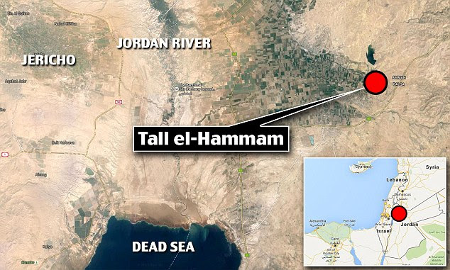 The team believes the city they have discovered must be Sodom because evidence suggests it thrives on the banks of the river Jordan (location marked) and was an important trade route, as described in the Bible.