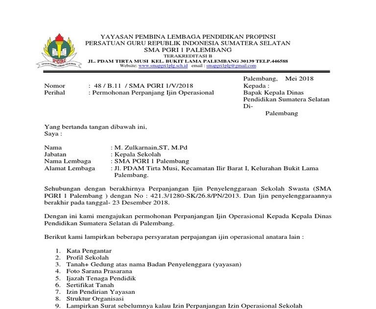 Contoh Surat Permohonan Izin Operasional Sekolah Nusagates