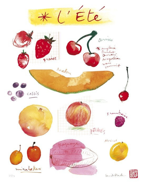 Summer fruits poster - 11 X 14 Limited edition print No 6/50 - Food art - The kitchen collection