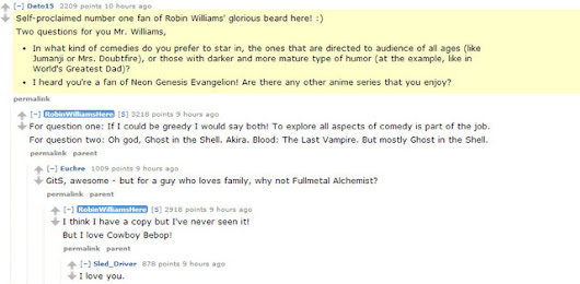 Robin Williams Shares Anime Opinions on Reddit Q&A