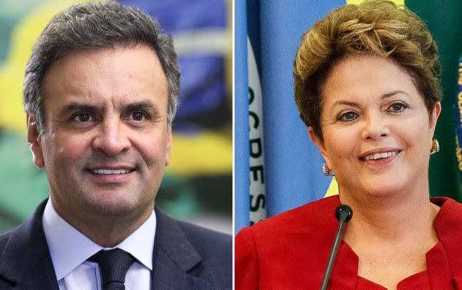 Aécio Neves (PSDB) e presidente Dilma Rousseff (PT)