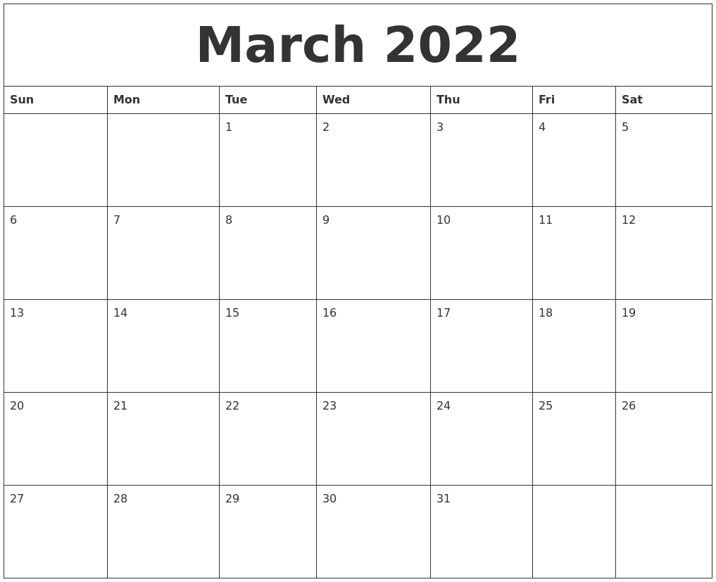 march 2022 free printable weekly calendar