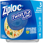 Ziploc Twist 'n Loc Container - Small Round - 16oz/3ct