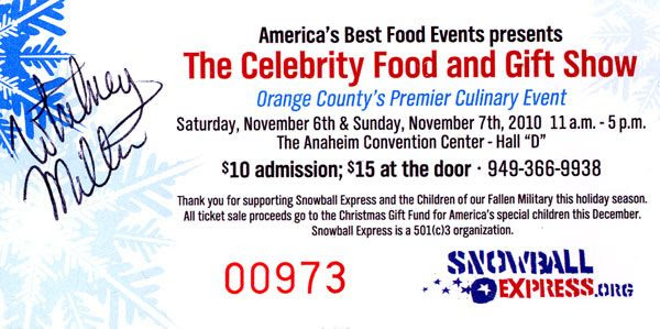 My ticket for The Celebrity Food and Gift Show...autographed by Whitney Miller on November 6, 2010.