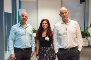 The Tech For Good co-founders. (From L to R:) Yoav Elgrichi, Kineret Karin, Nir Shimony. Photo credit: Tech For Good.
