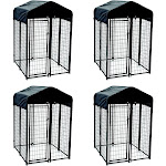 Lucky Dog Uptown Outdoor Covered Kennel Heavy Duty Dog Cage Pen (4 Pack) by VM Express