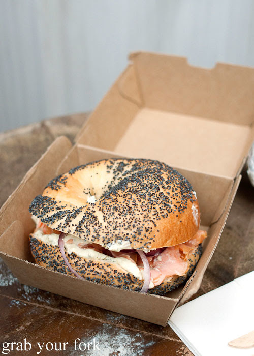 Smoked salmon bagel at Fish Place Surry Hills