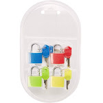 4-Pack Mini Padlock Luggage Locks With Keys, 4 Colors, 0.9 X 1.3 X 0.3 Inches