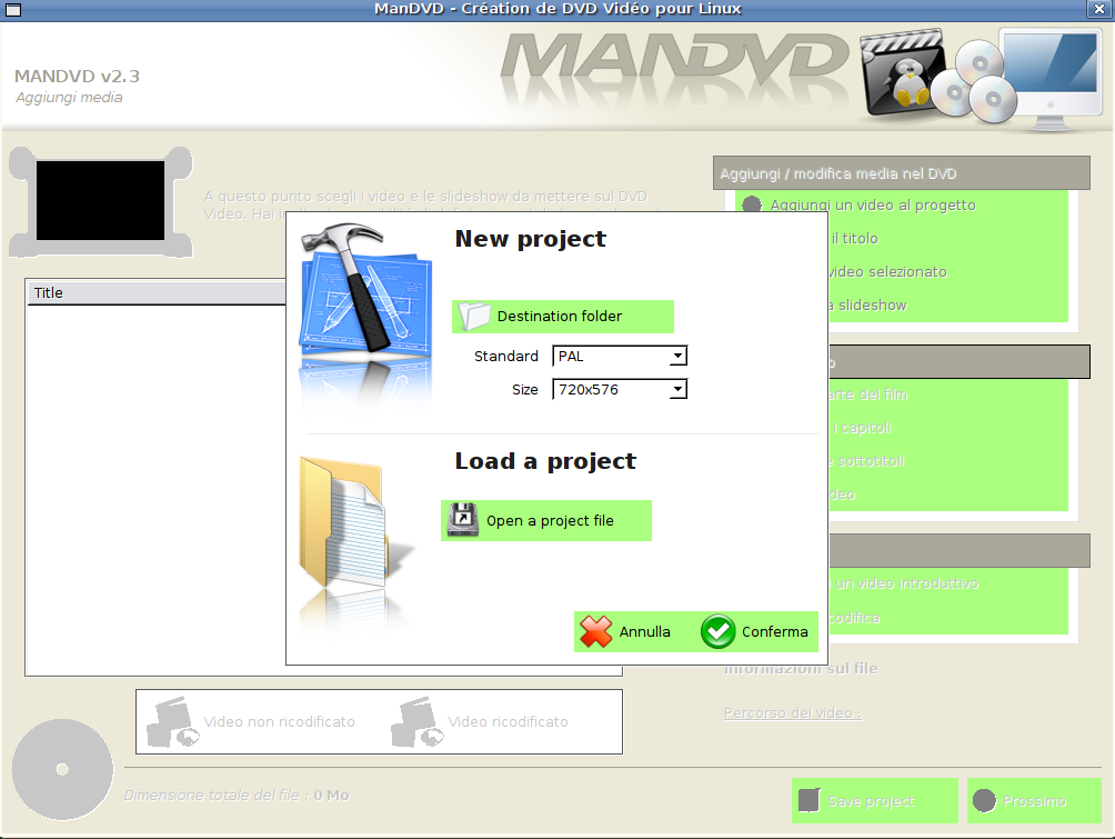 Schermata avvio ManDVD