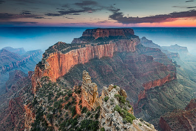 smoke from a distant fire filled the canyon giving it a mystical magical glow in the evening light