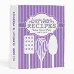 Trendy Retro Recipes Purple Personalized Mini Binder