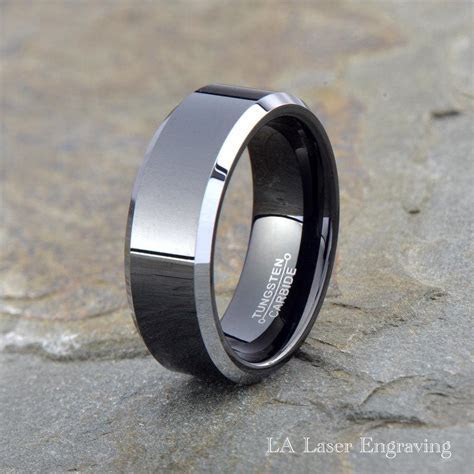 Tungsten Wedding Band, Men Tungsten Wedding Ring, Black