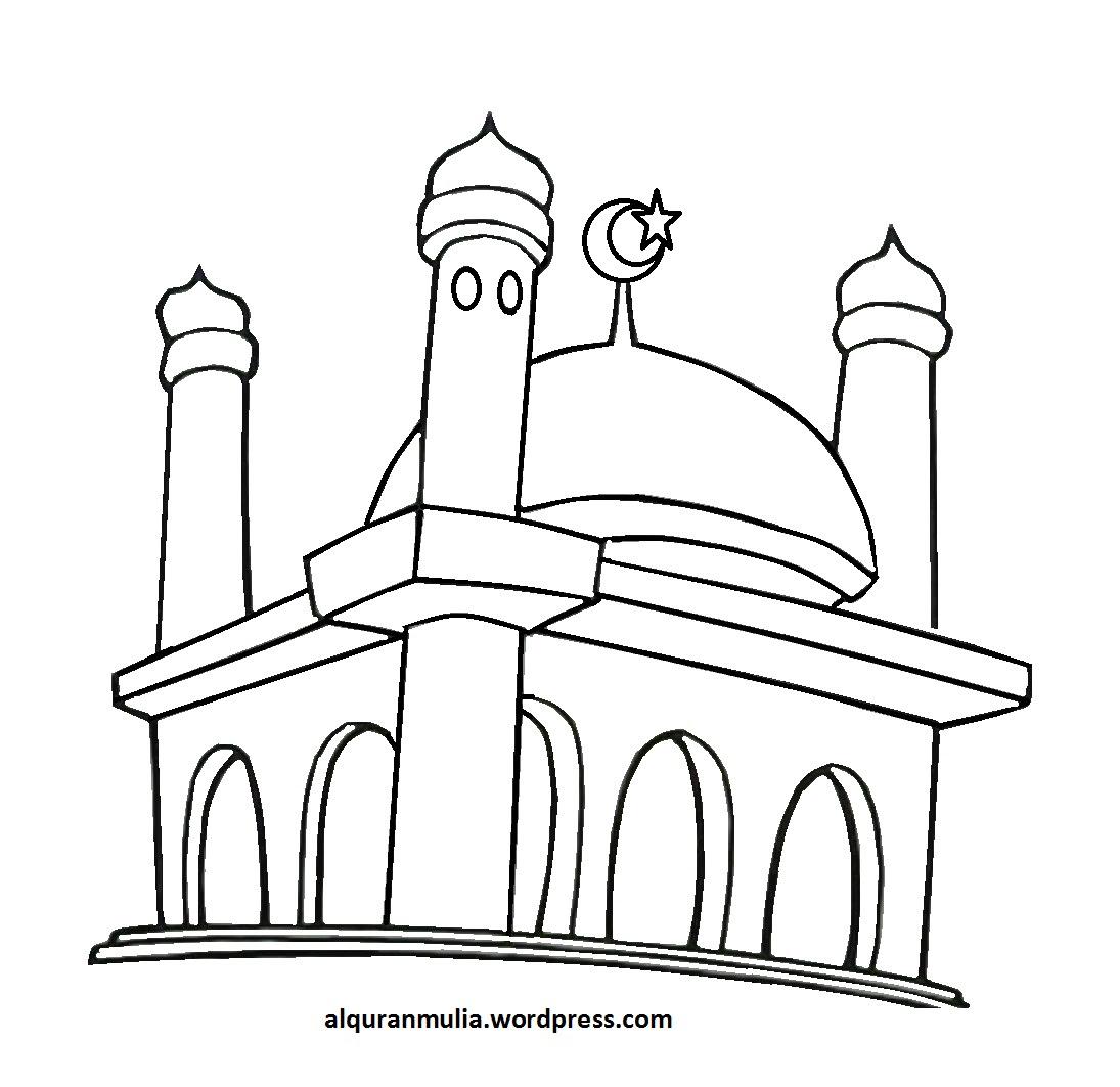 Sketsa Mewarnai Masjid Dunia Putra Putri Sketch Coloring Page
