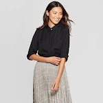 Women's Relaxed Fit Long Sleeve Collared Button-Down Shirt - A New Day Black