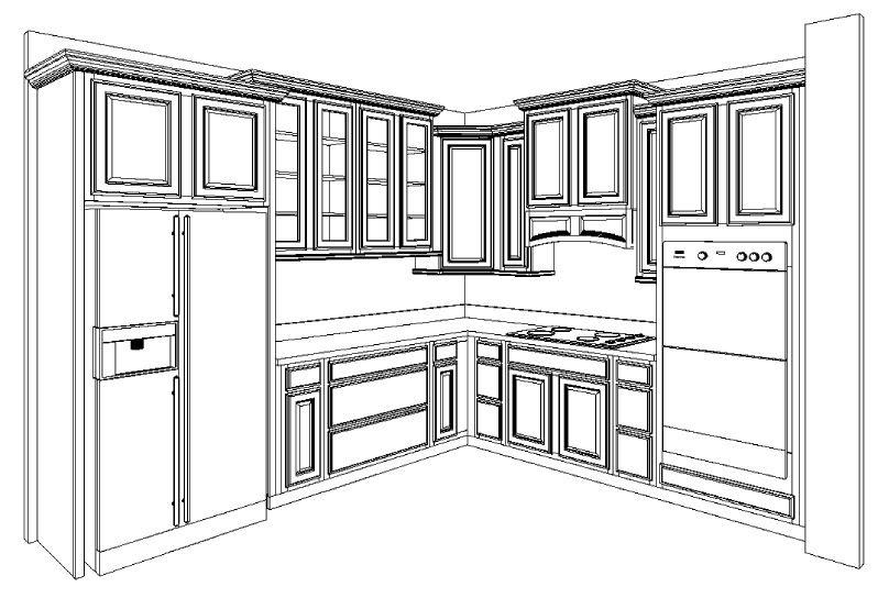 54 Inspiration Kitchen Cabinets Drawing Dekor Rumah