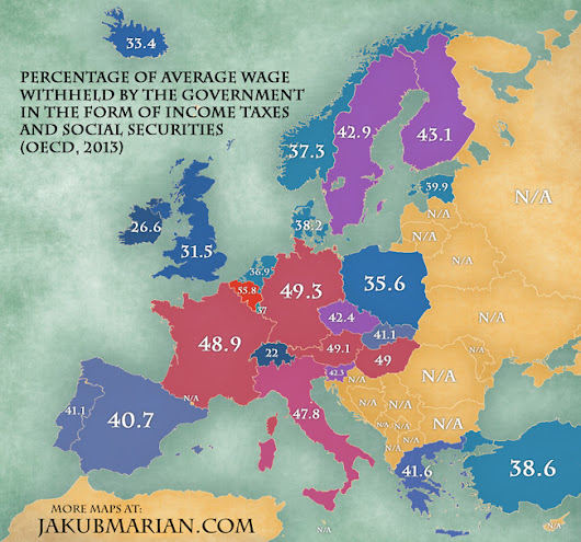 Map of income taxes and social securities by country in Europe