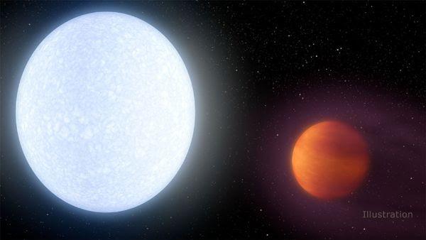 An artist's concept of the exoplanet KELT-9b orbiting its star KELT-9.