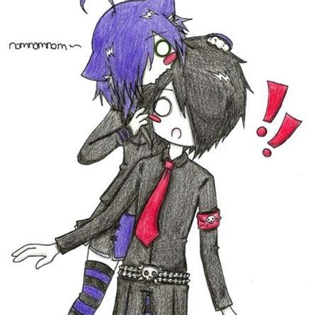 cute anime     emo couple
