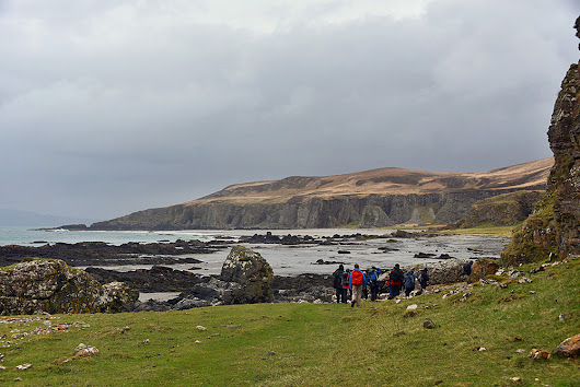 Walkers arriving at Bàgh an Dà Dhoruis, Isle of Islay