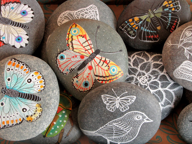 Painted stones close up