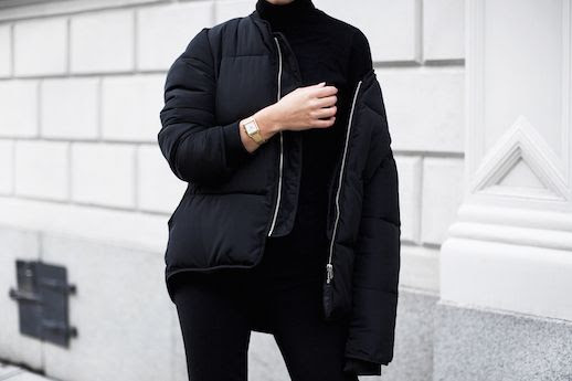 Le Fashion Blog Padded Black Bomber Jacket Black Trousers Via Victoria Tornegren