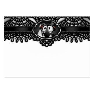 Halloween Elegant Black White Skeleton BLANK Place Large Business Card