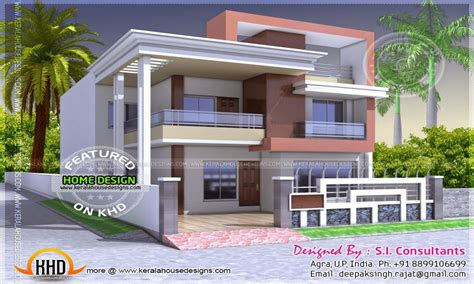 north indian style flat roof house  floor plan kerala