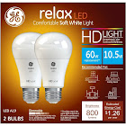 GE Relax HD Dimmable LED Light Bulb, Soft White - 2 pack