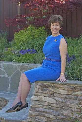 Blue Vintage Dress, sitting down