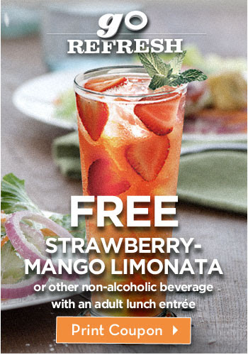 Go Refresh – FREE Strawberry-Mango Limonata with an adult lunch entrée