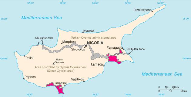 Mappa di Cipro. In rosa le SBA