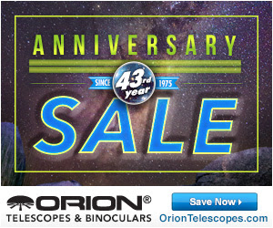 Big Savings on Telescopes at Orion's 43rd Anniversary Sale