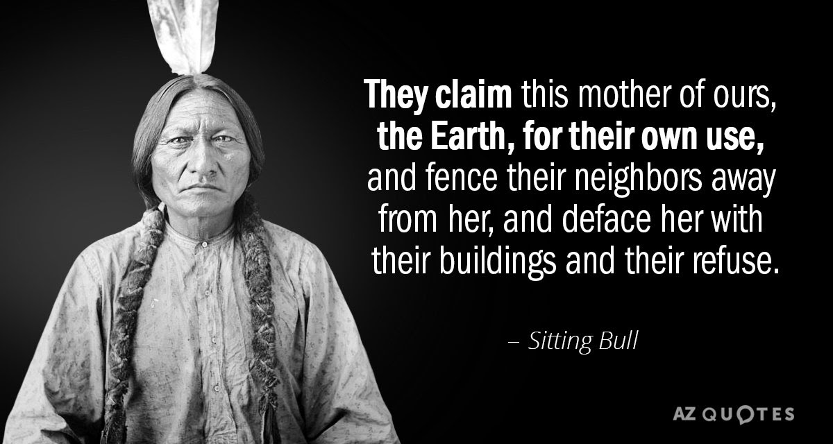 Sitting Bull Quote They Claim This Mother Of Ours The Earth For