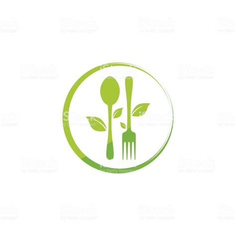 healthy nature food logo design template stock