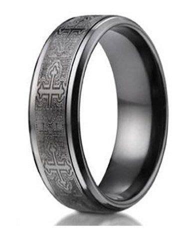 Designer Men's Black Titanium Cathedral Cross Ring   9mm