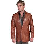 Scully Mens Lambskin Blazer - Antique Brown