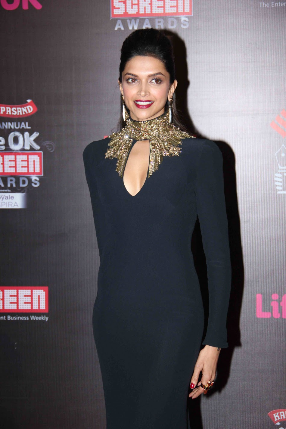 Deepika Padukone in black gown at 20th Annual Screen ...