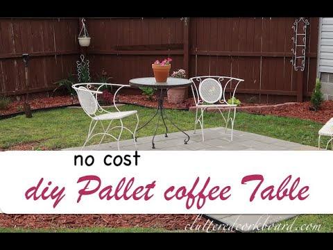 DIY Rustic Pallet No Cost Patio Coffee Table