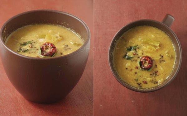 Drumsticks and onion sambar