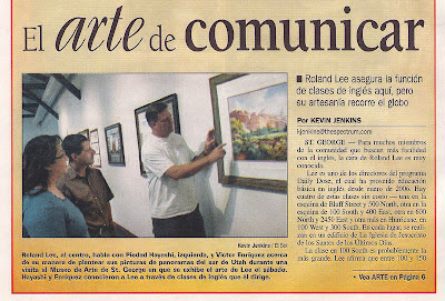 Article about Roland Lee in El Sol Spanish language publication published by the Spectrum newspaper. Written by Kevin Jenkins.