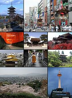 From top left: Tō-ji, Gion Matsuri in modern Kyoto, Fushimi Inari-taisha, Kyoto Imperial Palace, Kiyomizu-dera, Kinkaku-ji, Ponto-chō and Maiko, Ginkaku-ji, Cityscape from Higashiyama and Kyoto Tower