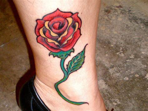 fancy rose tattoos leg