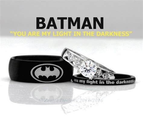 Batman His and Her's 3piece Silver Custom Engagement SET