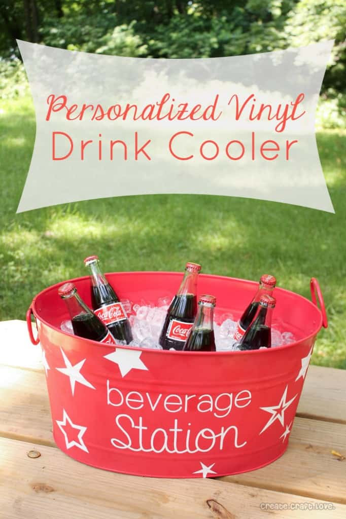 Personalized Vinyl Drink Cooler via createcraftlove.com #vinyl #summer #cookout #personlized
