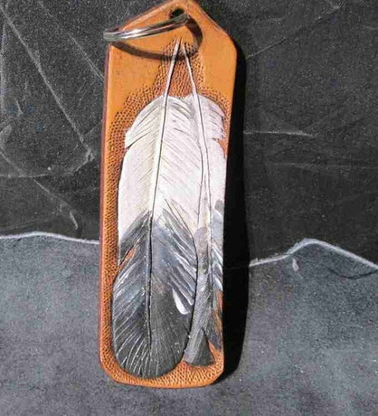 Handmade feather keychain leather key fobs feather key fobs