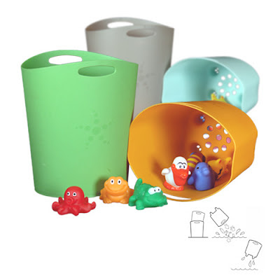 nesting buckets for bath toy storage; inner one 0 the scopper - has drain holes