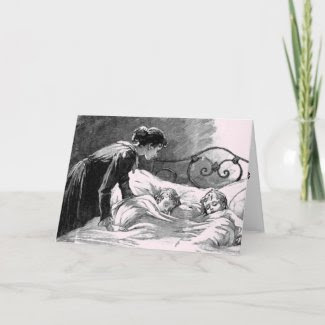 Vintage Mother and Children Sleeping Card card