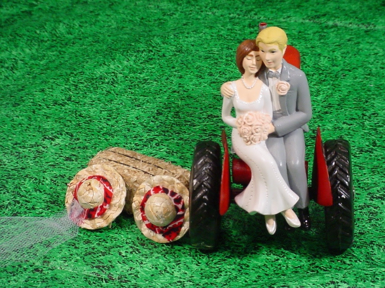Red Tractor Farm County Rustic Wedding Cake Custom Topper-Style7