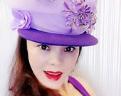 Purple Hand Embroidery Yarn Hat,Caps,Hats,Womens Hat,Trucker Hat,Baseball Cap,Fashion Hat,Lovely Hat,Personality Hat,Show Hat,Beautiful Cap