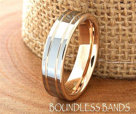 Rose Gold Wedding Band Ring 6mm 18K Two Tone Man Wedding